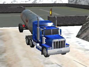Oil Tanker Truck Drive Extreme Winter